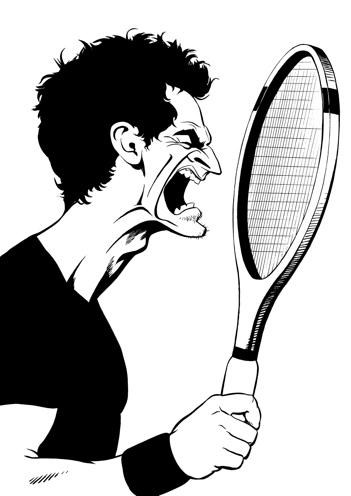 Andy Murray caricature, British tennis player, Wimbledon champion. By Ken Lowe Illustration. Limited edition prints available, size A2 or A3, signed and numbered by Ken Lowe.