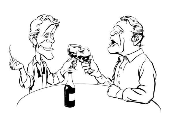 Richard Burton and Peter O'Toole caricature