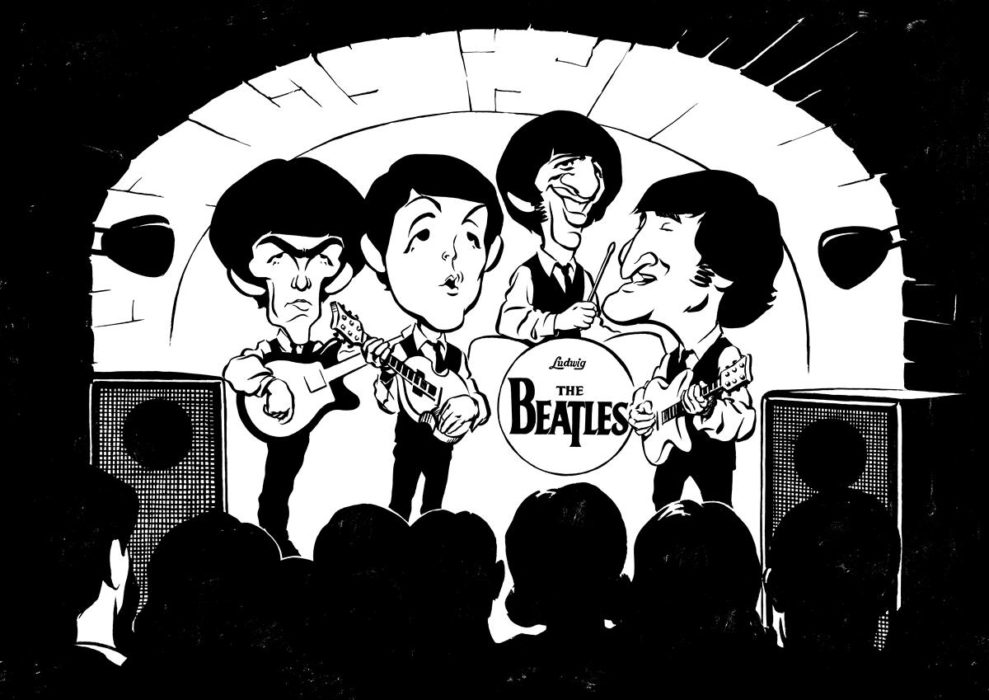 Early The Beatles caricature