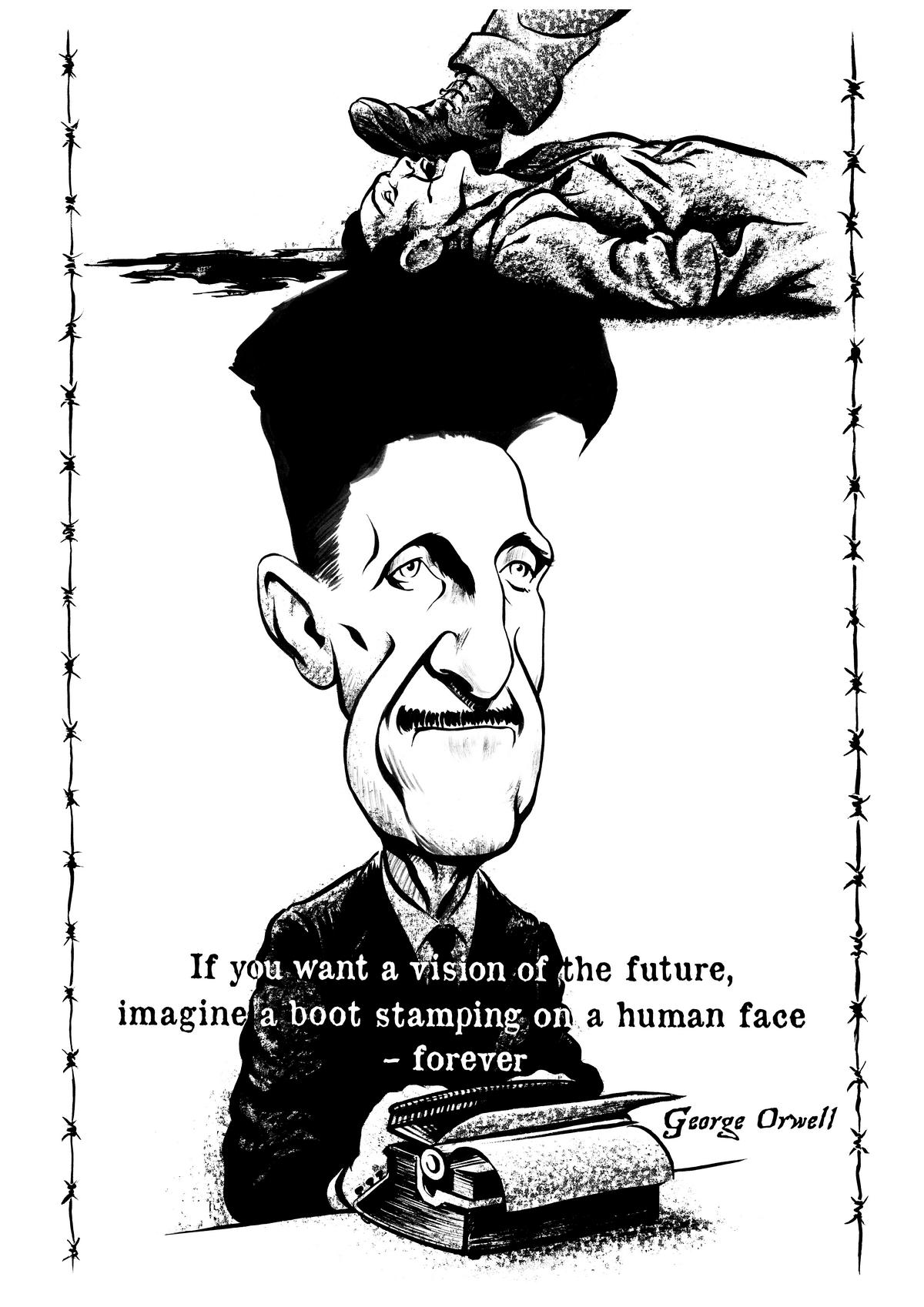 George Orwell caricature