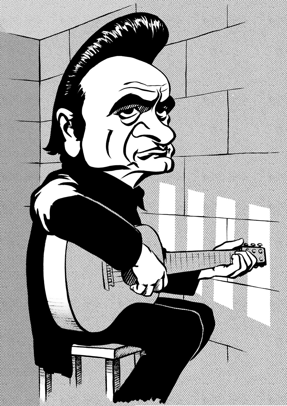 Johnny Cash caricature