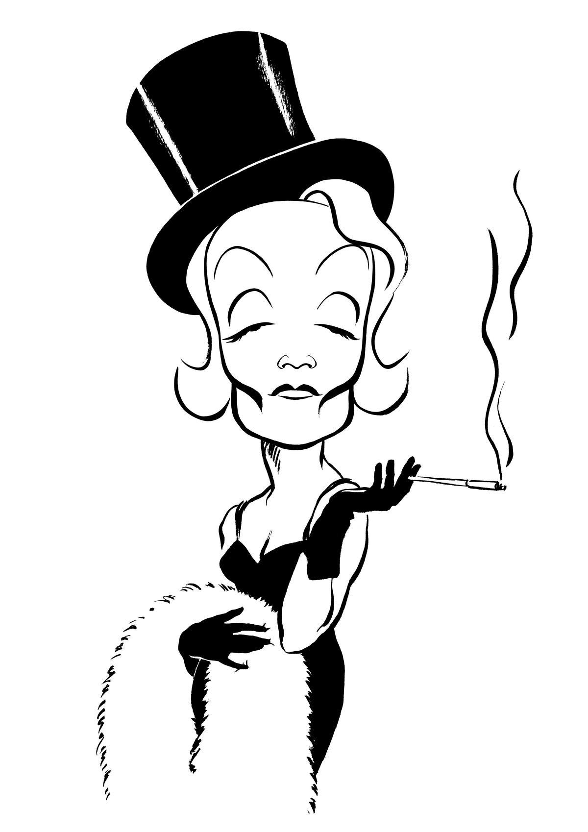 Marlene Dietrich caricature