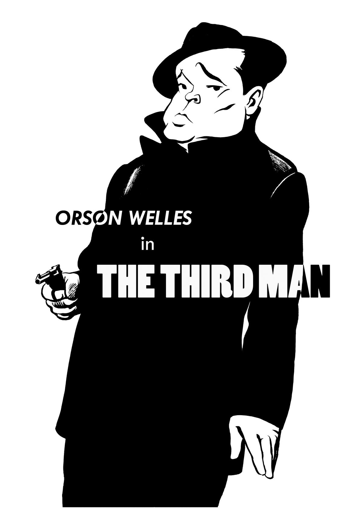 Orson Welles caricature, The Third Man, Film Noir, Harry Lime, Graham Greene. By Ken Lowe Illustration. Limited edition prints available, size A2 or A3, signed and numbered by Ken Lowe.