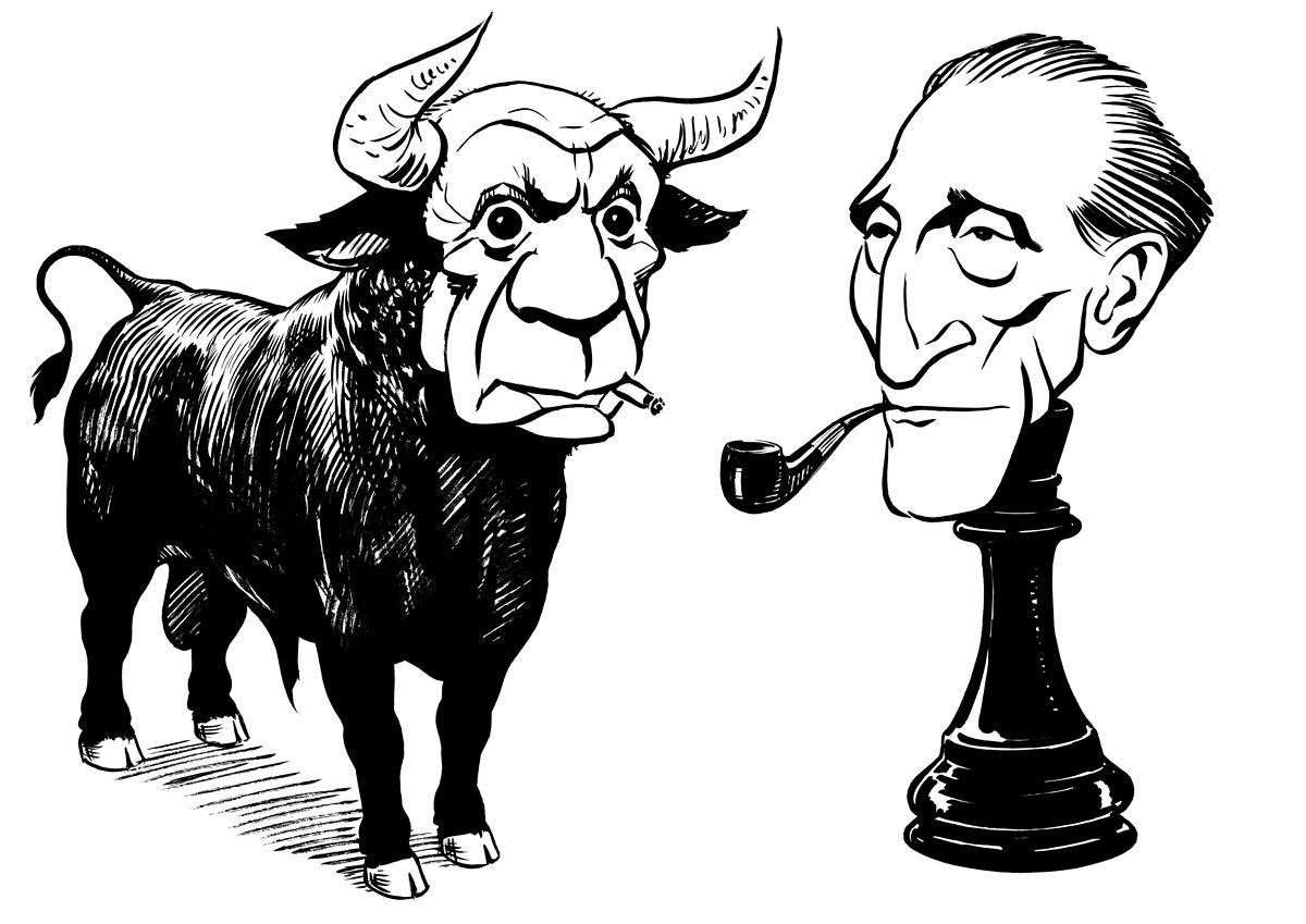 Picasso vs. Duchamp caricature