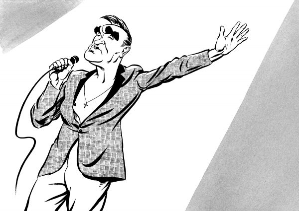 Morrissey caricature, The Smiths, Morrissey singing on stage. By Ken Lowe Illustration. Limited edition prints available, size A2 or A3, signed and numbered by Ken Lowe