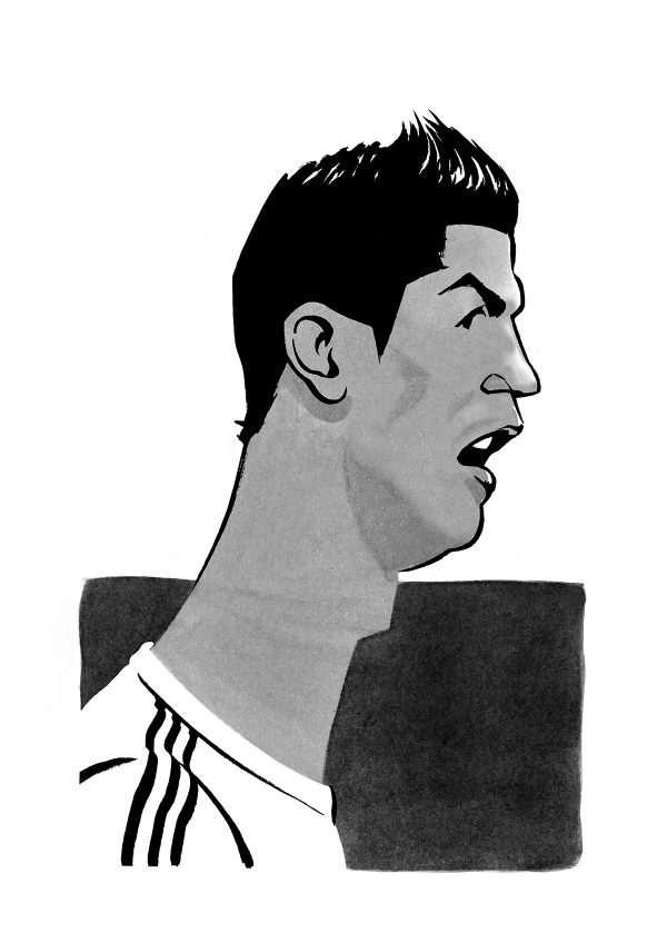 Christiano Ronaldo caricature, Manchester United, Real Madrid and Juventus professional footballer. By Ken Lowe Illustration. Limited edition prints available.