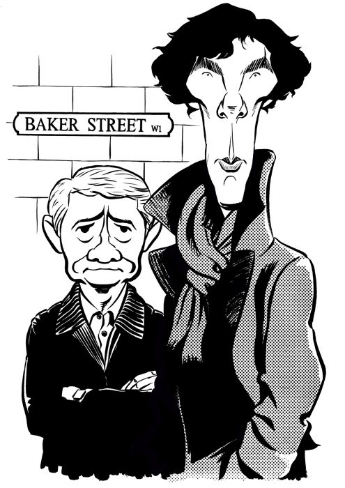 Caricature of Benedict Cumberbatch as Sherlock Holmes and Martin Freeman as Watson, From BBC TV series based on Sir Arthur Conan Doyle's detective stories. By Ken Lowe.
