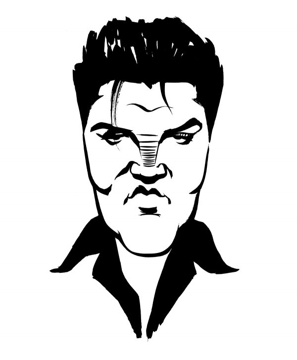 Elvis Presley caricature, King of Rock and Roll, singer, Memphis, Las Vegas. By Ken Lowe Illustration. Limited edition prints available, size A2 or A3, signed and numbered by Ken Lowe.