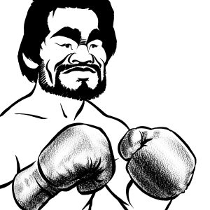 Roberto Duran caricature, Panamanian world champion boxer, nicknamed 'manos de piedra', hands of stone. By Ken Lowe.