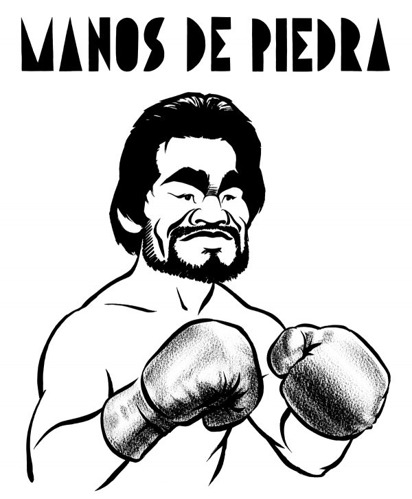 Roberto Duran caricature, Panamanian world champion boxer, nicknamed 'manos de piedra', hands of stone. By Ken Lowe.