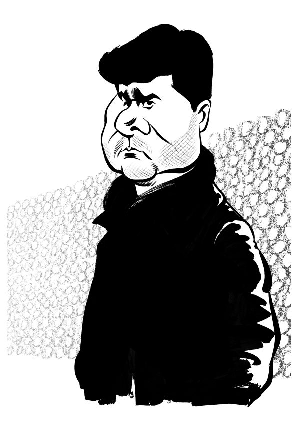 Mauricio Pochettino caricature, manager of Premier League club, Tottenham Hotspur. By Ken Lowe Illustration. Limited edition prints available, size A2 or A3, signed and numbered by Ken Lowe.