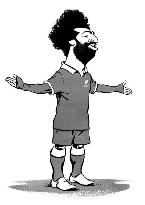 Mo Salah caricature, Liverpool Football Club, goal celebration. Limited edition prints available, size A2 or A3, from Ken Lowe Illustration