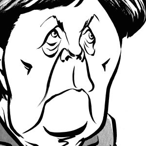 Angela Merkel caricature, German Chancellor, European Union. By Ken Lowe Illustration. Limited edition prints available.