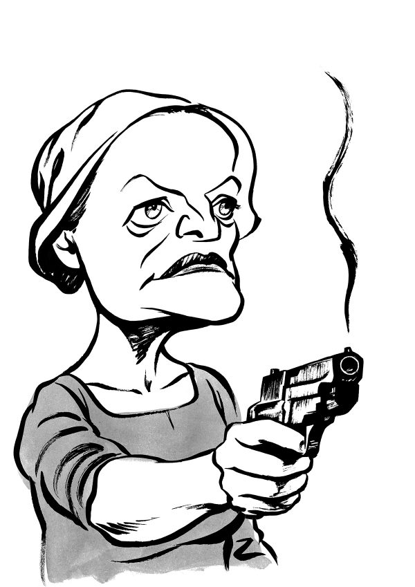 Elizabeth Moss caricature in the handmaids tale. Margaret Atwood. By Ken Lowe Illustration. Limited edition prints available, size A2 or A3, signed and numbered by Ken Lowe.