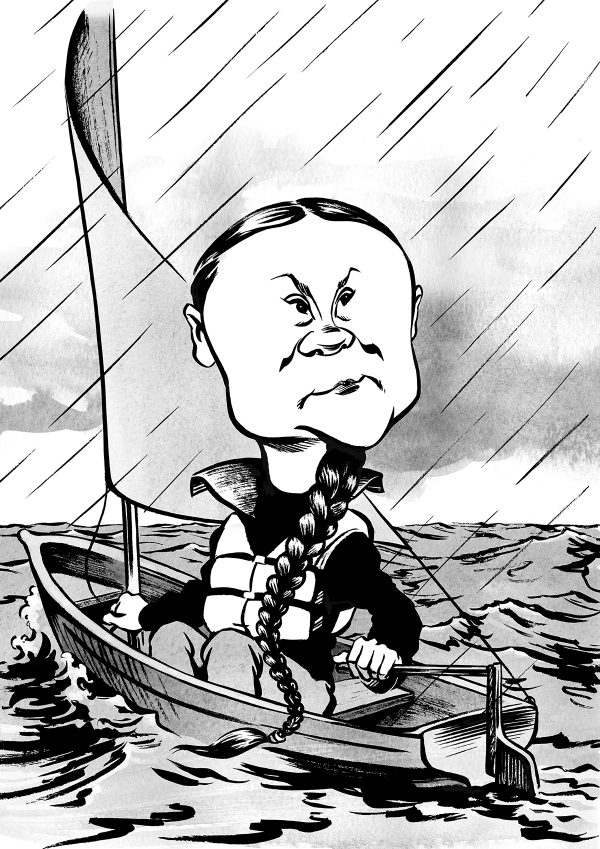 Greta Thunberg caricature, sailing in a boat on the ocean. By Ken Lowe Illustration. Limited edition prints available, size A2 or A3, signed and numbered by Ken Lowe.
