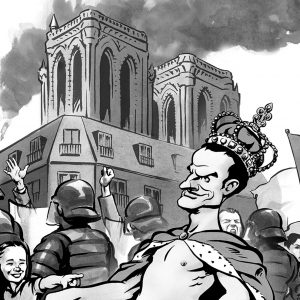 Emmanuel Macron caricature, President of France, Paris, notre dame cathedral. By Ken Lowe Illustration.