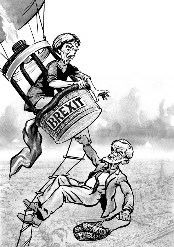Theresa May and Jeremy Corbyn in a hot air balloon. Caricature by Ken Lowe Illustration.
