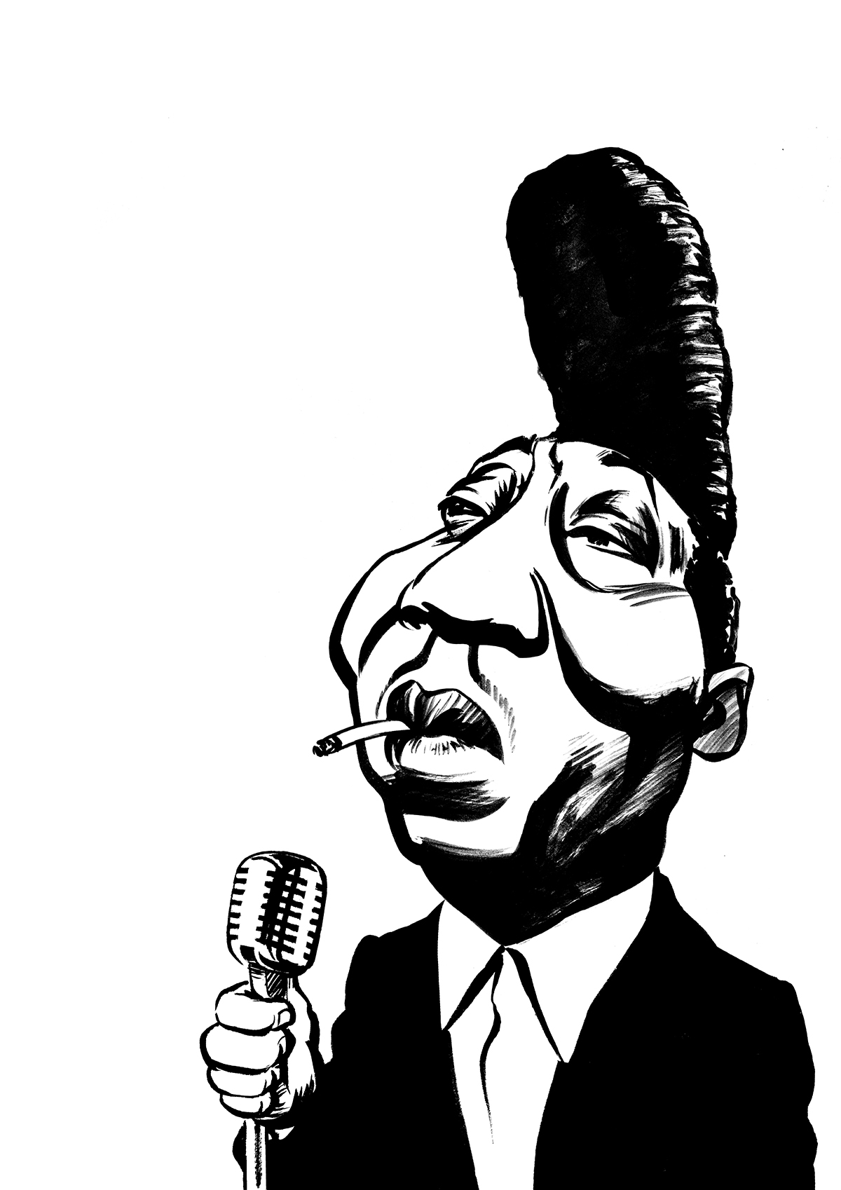 Muddy Waters caricature, delta blues singer, McKinley Morganfield, Chicago bluesman.By Ken Lowe Illustration. Limited edition prints available.