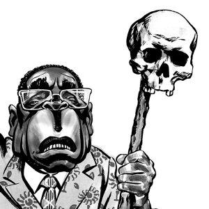 Robert Mugabe caricature, holding skull. President of Zimbabwe. African politician. By Ken Lowe Illustration. Limited edition prints available.