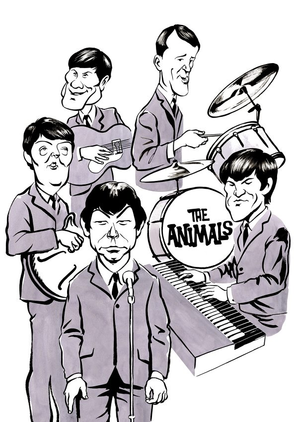 Caricature of English rhythm and blues band The Animals. Eric Burdon as lead singer. By Ken Lowe Illustration. Limited edition prints available.