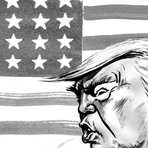 Caricature of President Donald trump in front of the American flag. By ken Lowe Illustration.