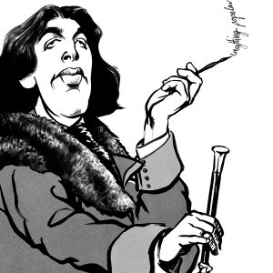 Caricature of playwright Oscar Wilde in black ink by Ken Lowe illustration.