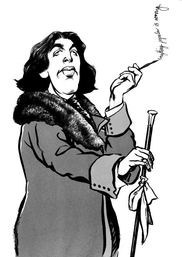 Caricature of playwright Oscar Wilde in black ink by Ken Lowe illustration.