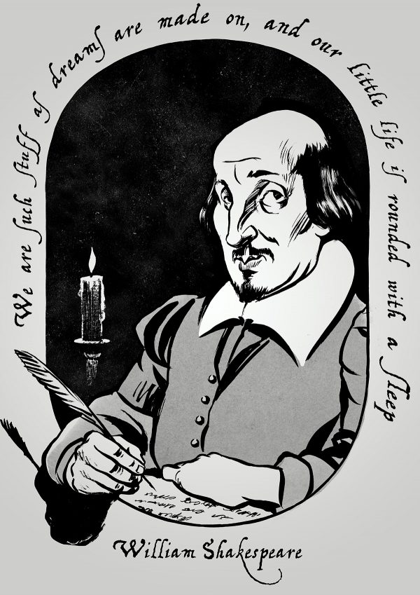 Caricature of English playwright William Shakespeare. By Ken Lowe Illustration.