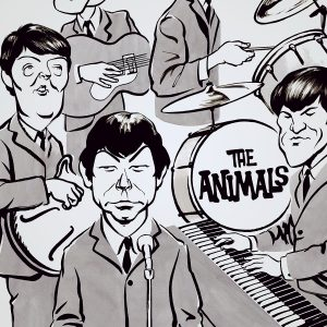 Caricature of 60's British band The Animals. By Ken Lowe Illustration.